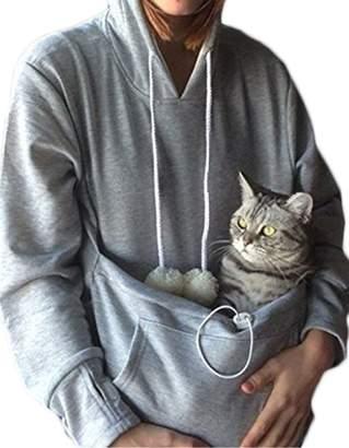 d96503ec7 Greenis Womens Sweatshirt Pet Holder Cat Eared Kangaroo Pouch Women Hoodie  Sweater Cat Dogs Carrier