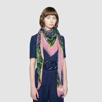 Gucci Silk shawl with Feline Garden print