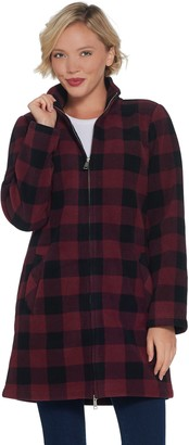 Denim & Co. Petite Plaid Sherpa Lined Fleece 2-Way Zip Up Jacket