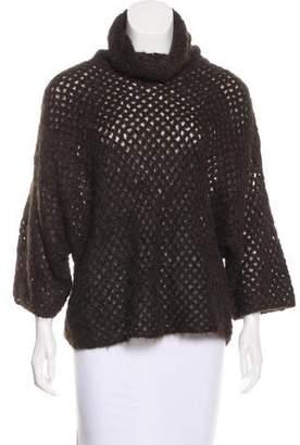 Theyskens' Theory Open-Knit Turtleneck Sweater