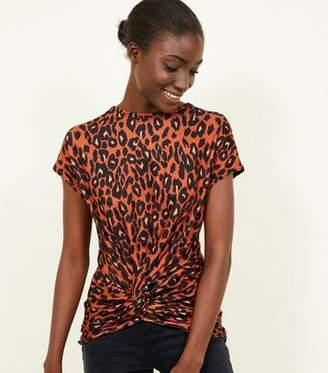 e6c13b0d2f376f New Look Orange Leopard Print Twist Front Top
