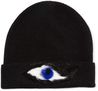 Neiman Marcus Cashmere Rabbit Fur Eye Beanie