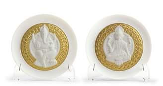 Lladro Goddess Lakshmi and Lord Ganesha Decorative Plate (Set of 2)