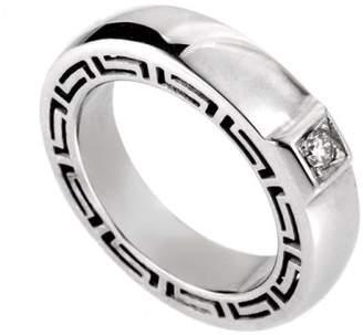 Versace V-Profile 18K White Gold Diamond Ring Size 5.75