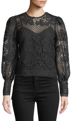 Joie Rodia Cropped Floral Lace Long-Sleeve Top