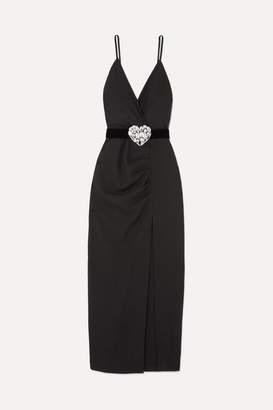 Alessandra Rich - Crystal-embellished Ruched Wool-blend Maxi Dress - Black