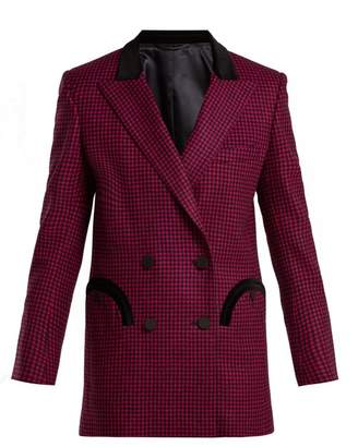 Blazé milano BlazA Milano - Fair & Square Gingham Double Breasted Wool Blazer - Womens - Dark Pink