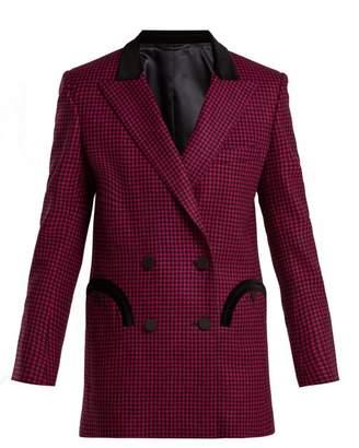 Blazé Milano Blaze Milano - Fair & Square Gingham Double Breasted Wool Blazer - Womens - Dark Pink