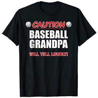 Mens Baseball Grandpa Caution Will Yell Loudly Funny Gift