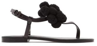 Álvaro alvaro - Arjan Pompom Embellished Leather Sandals - Womens - Black