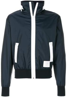 Thom Browne 4-Bar Stripe Lightweight Ripstop Hidden Hood Zip-Up Jacket