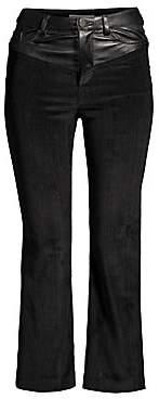 Alice + Olivia Women's Jacob Leather Yoke Crop Trousers
