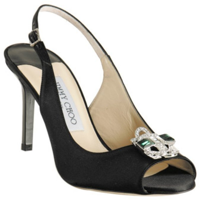 Jimmy Choo black satin 'Myles' jeweled peep toe slingbacks