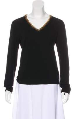 Barbara Bui Initials Fur-Trimmed Top