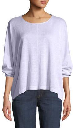 Eileen Fisher Organic Linen Jewel-Neck Box Top