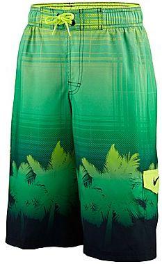 Nike Palm Tree Plaid Swim Trunks - Boys 8-20