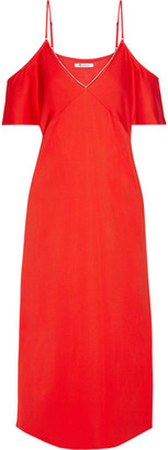 T by Alexander Wang - Cold-shoulder Chain-trimmed Stretch-crepe Midi Dress - Crimson $495 thestylecure.com