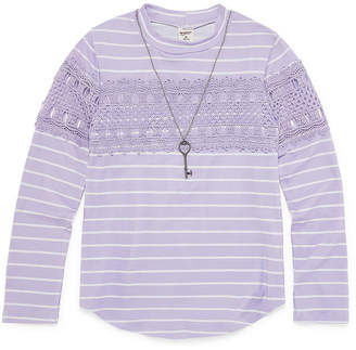 Arizona Long Sleeve Crochet Front Top with Necklace - Girls' 4-16 & Plus
