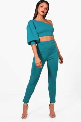 boohoo One Shoulder Crop & Skinny Trouser Set