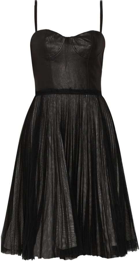 Alice + Olivia Leather and tulle dress