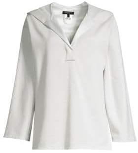 Lafayette 148 New York Henley Hoodie Sweatshirt