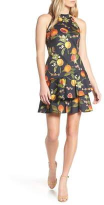 Forest Lily Fruit Print Halter Neck Dress