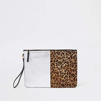 River Island Leopard print panel pouch clutch bag