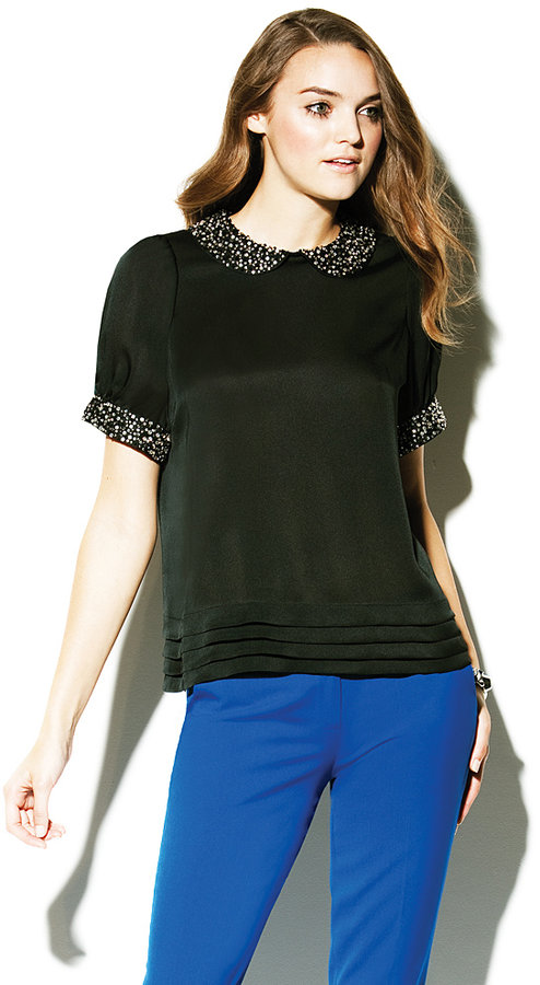 Vince Camuto Jeweled Trim Blouse