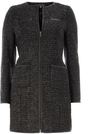 Charcoal sparkle boucle coat