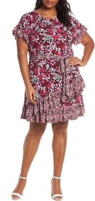 ed28488b21 MICHAEL Michael Kors Cherry Blossom Ruffle Faux Wrap Dress