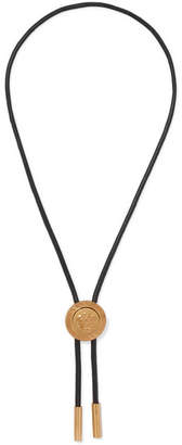 Versace Medusa Leather And Gold-tone Necklace - Black