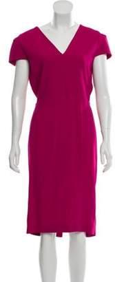 Roland Mouret Short Sleeve Midi Dress w/ Tags Magenta Short Sleeve Midi Dress w/ Tags