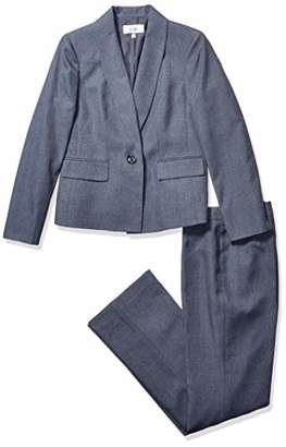Le Suit Women's 1 Button Shawl Collar Multi-Tone Novelty Pant Suit