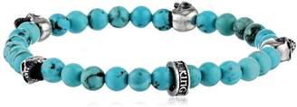 King Baby Studio Turquoise Bead with 4 Skulls Bracelet