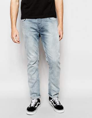 Jack and Jones Washed Gray Jeans in Slim Fit with Stretch