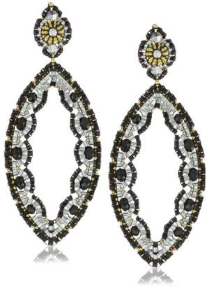 Miguel Ases Quartz and Swarovski Cut-Out Marquise Earrings