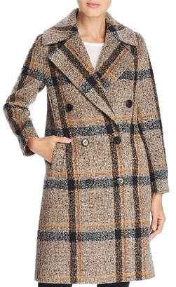 KENDALL + KYLIE Double-Breasted Button Front Plaid Coat