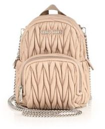 Miu MiuMiu Miu Mini Matelasse Leather Crossbody Backpack