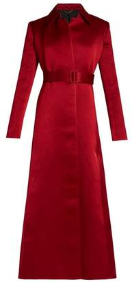 The Row Neyton Washed Duchess Satin Long Line Coat - Womens - Red