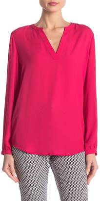 Adrianna Papell Split V-Neck Long Sleeve Blouse