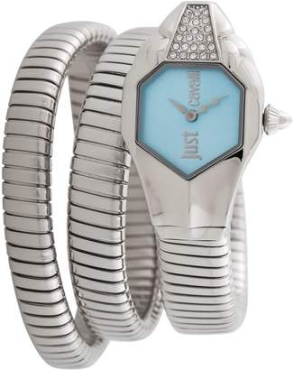 Just Cavalli Women's JC1L022M0015 Dial with Silver Stainless-Steel Band Watch.