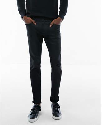Express slim black coated distressed stretch jeans