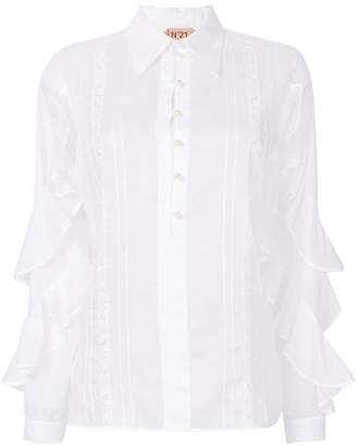 No.21 ruffle sleeve sheer shirt