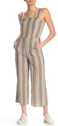 BeBop Striped Linen Blend Coverall Jumpsuit