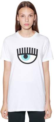 Chiara Ferragni Eye Patch Cotton Jersey T-Shirt