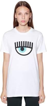 Chiara Ferragni Eye Patch Cotton Jersey T-Shirt