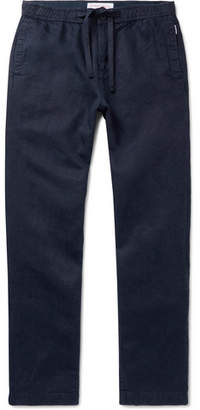 Orlebar Brown Navy Wide-Leg Linen Drawstring Trousers