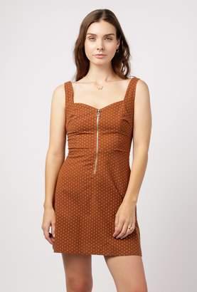 Azalea Polka Dot Front Zip Dress