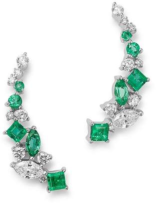 Bloomingdale's Diamond & Emerald Climber Earrings in 14K White Gold - 100% Exclusive