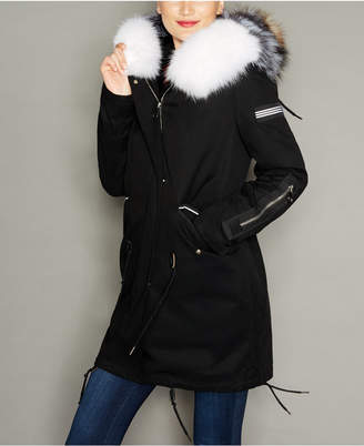 The Fur Vault Fox-Trim Rabbit Fur-Lined Parka